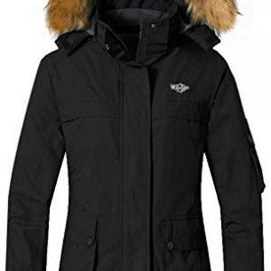 Wantdo Women's Warm Parka Mountain Ski Fleece Jacket Waterproof Rain Coat