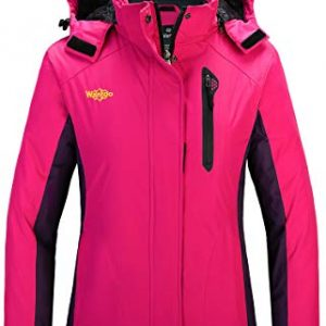 Wantdo Women's Waterproof Parka Windproof Ski Jacket Hooded Winter Raincoat