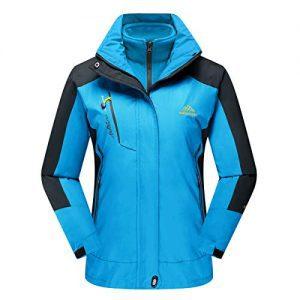 CRYSULLY Women's Winter Mountain 3-in-1 Windbreaker Jackets Fleece Inner Rain Snow Coat Removable Hood