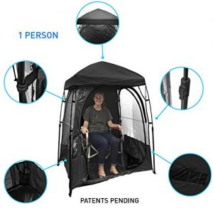 EasyGoProducts CoverU Sports Shelter - 1 Person Weather Tent Pod (Black) - New Larger Bag - Patents Pending