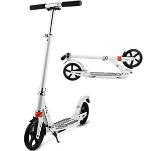 Hikole Scooters for Adults Teens, Kick Scooter with Adjustable Height Dual Suspension and Shoulder Strap 8 inches Big Wheels Scooter Smooth Ride Commuter Scooter for Kids Age 12 Up
