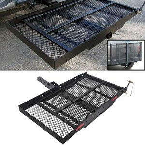 ECOTRIC Trailer Hitch Folding Carrier for Wheelchair Scooter Disability Mobility Rack w/Loading Ramp