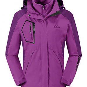 Rdruko Women's Outdoor 3-in-1 Waterproof Ski Jacket Fleece Inner Winter Coat with Detachable Hood