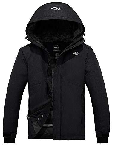 Wantdo Men's Hooded Waterproof Fleece Ski Jacket Windproof Parka Winter Coat