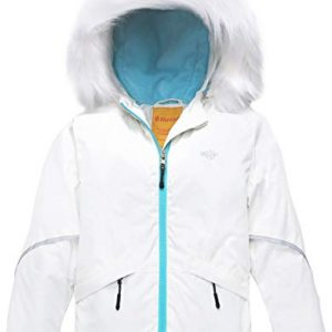 Wantdo Girl's Waterproof Ski Jacket Warm Winter Jacket Raincoat with Fur Hood