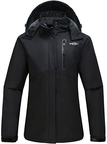 Wantdo Womens Detachable Hood Waterproof Fleece Lined Parka Windproof Ski Jacket