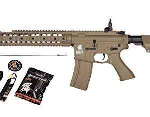Lancer Tactical AEG SR-16 Electric Auto Airsoft Rifle Gun w/Battery + Charger (Tan)