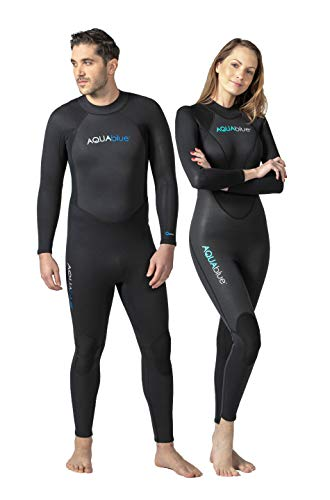 Aqua Blue Men's and Women's 3mm Neoprene Wetsuit with Super Stretch, Perfect for Surfing, Diving, Snorkeling, All Water Sports.