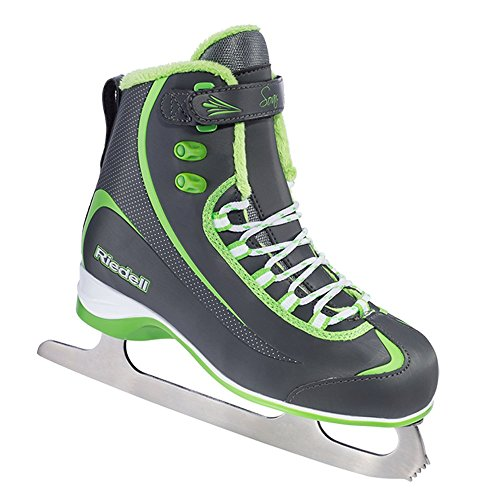 Riedell 615 Soar / Kids Beginner/Soft Figure Ice Skates / Color: Gray and Lime / Size: 8