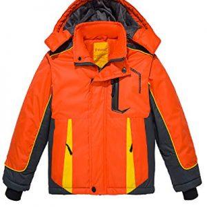 Wantdo Boy's Waterproof Ski Jacket Hooded Windbreaker Fleece Lined Winter Coat