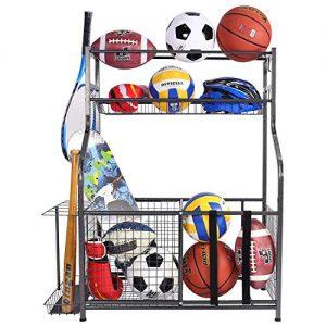 Mythinglogic Garage Storage System, Garage Organizer with Baskets and Hooks, Sports Equipment Organizer for Kids, Ball Rack, Garage Ball Storage, Sports Gear Storage, Black, Powder Coated Steel