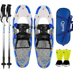 Gpeng 4-in-1 Xtreme Lightweight Snow Shoes Set for Men Women Youth Kids, Light Weight Aluminum Alloy Terrain Snowshoes with Trekking Poles and Waterproof Leg Gaiters, 14/21/25/27/30 Inches