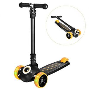 Greentest Scooter Foldable Adjustable Height Easy Turning 3 Wheel Scooter Kids Boys Girls Flashing PU Wheels (Black) (Black-Eye)