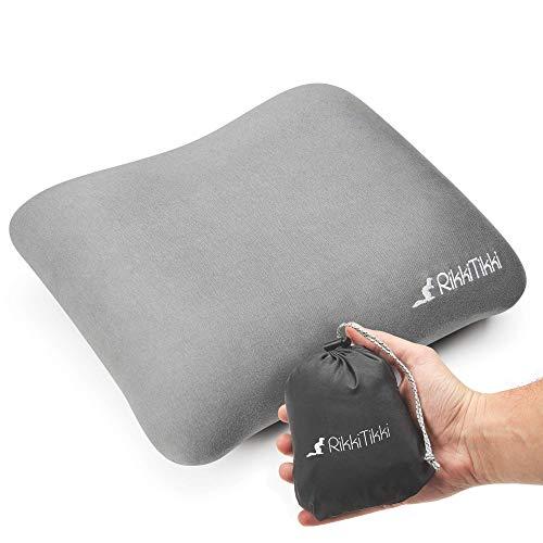 RikkiTikki Inflatable Camping Pillow - Hiking Pillow Ultralight - Backpacking Pillow Lightweight - Camp Pillow Compressible - Blow Up Camping Pillow