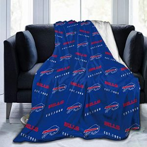 LOMELIN Custom Flannel Fleece Throw Blanket Buffalo Bills Bedding Soft Lightweight Microfiber Warm Blanket for Bed Couch Chair Camping Travel All Seasons Daily Use Bedroom