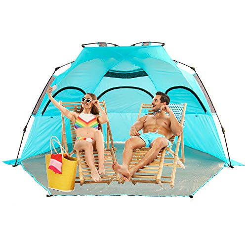 Easy Up Folding Beach Tent, 3-4 Person Sun Shelter for Family and Sports Events,SPF 50+,Large Ventilation Windows and Storage Pockets