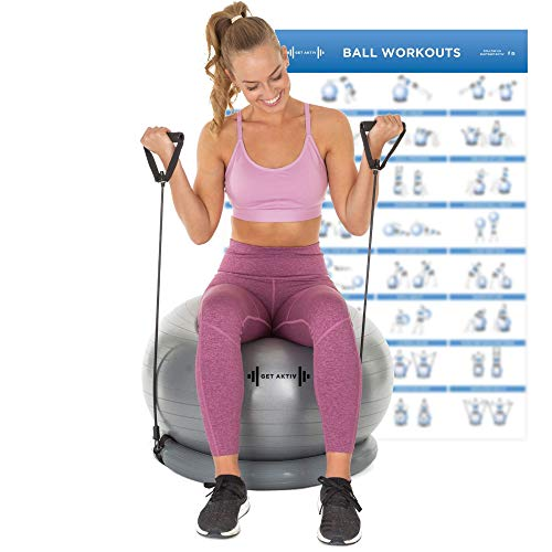 Let's Get Aktiv Exercise Ball with Resistance Bands - 1 Yoga Ball (65cm) + Stability Base, A1 Wall Poster, 2 Exercise Bands Sets (45 & 70cm), Ball Pump, Spare Plugs & Plug Remover - eBook Included!