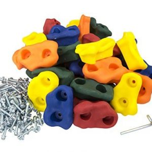 "Squirrel Products 30 Large Kids Rock Climbing Holds - with Mounting Hardware for up to 1"" Installation"