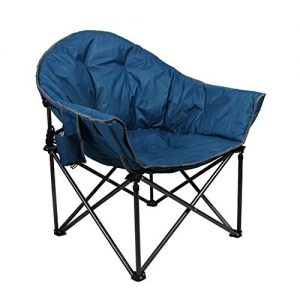ALPHA CAMP Oversized Camping Chairs Padded Moon Round Chair Saucer Recliner Supports 500 lbs with Folding Cup Holder and Carry Bag (Renewed)