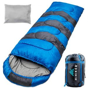 HiHiker Camping Sleeping Bag + Travel Pillow w/Compact Compression Sack - 4 Season Sleeping Bag for Adults & Kids - Lightweight Warm and Washable, for Hiking Traveling.