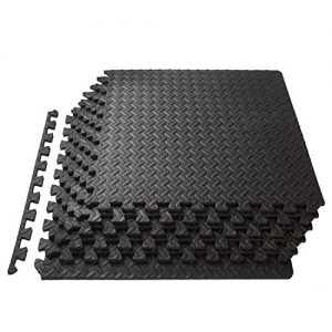 ProSource fs-1908-pzzl Puzzle Exercise Mat EVA Foam Interlocking Tiles (Black, 24 Square Feet)