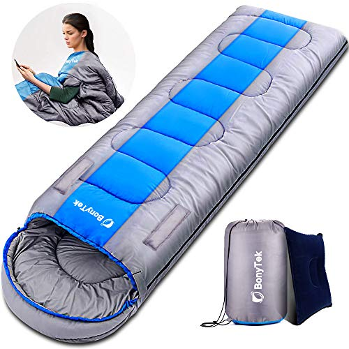 BonyTek Sleeping Bags, Upgraded Waterproof Camping Sleeping Bag, Adults & Kids Camping Gear Equipment for Indoor & Outdoor Hiking, Traveling and Backpacking, Perfect for 4 Season Warm Cool Weather