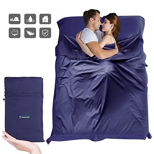 Sleeping Bag Liner, Beauty Star Super Lightweight Single/Double 2 Person Sleeping Bag for Camping, Backpacking, Hiking, Hotel, Portable Envelope Ultralight Sleep Sack with Compression Sack (Navy Blue)