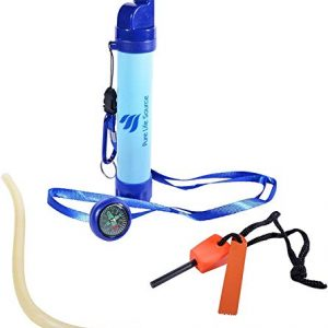 "Water Filter Straw - Survival Pack with Accessories - Personal Reusable ""Eco Friendly"" Carbon Activator, Filters 9.9999% of water Borne Nasties, produces Clean Pure Safe Water, Long Life Span & approx"