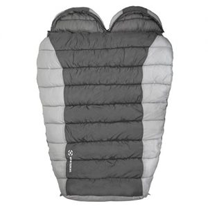Winterial Double Mummy Sleeping Bag for Camping, Backpacking and Hiking, Cold Weather 2 Person Double Sleeping Bag Queen Size Waterproof Sleeping Bag for Adults, Teens