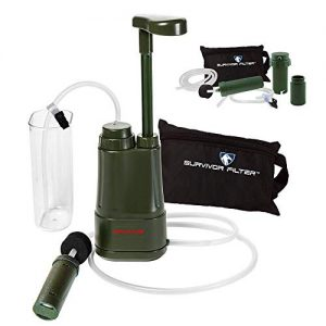 Survivor Filter PRO Hydration Extender Pump with Extra Filters and Backwashing System - 0.01 Micron Water Filter for Camping, Emergency Preparedness, Hiking and Emergency.