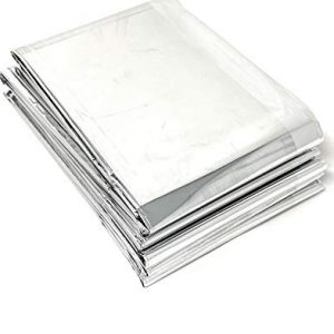 "Lot of 50 Emergency Foil Mylar Thermal Blanket , 52"" x 84"", Useful for Homeless care , Charity,natural disasters, hurricane relief, emergency supplies (each Individually wrapped)"
