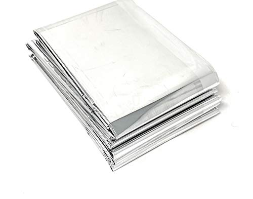 """Lot of 50 Emergency Foil Mylar Thermal Blanket , 52"""" x 84"""", Useful for Homeless care , Charity,natural disasters, hurricane relief, emergency supplies (each Individually wrapped)"""