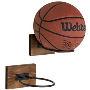 MyGift Wood & Metal Wall-Mounted Sports Ball Holder Storage, Set of 2