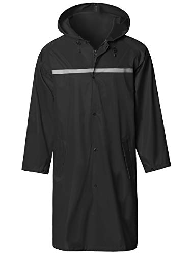 Mens Long Hooded Safety Rain Jacket Waterproof Emergency Raincoat Poncho