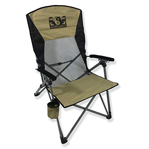 Wolftraders Laybak Reclining High Mesh Back Folding Camp Chair
