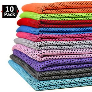 Peicees 10 Pack Microfiber Cooling Towels for Neck Sports Gym Workout Cooling Towel, Fast Drying Super Absorbent Compact Lightweight for Climbing Camping Travel Beach
