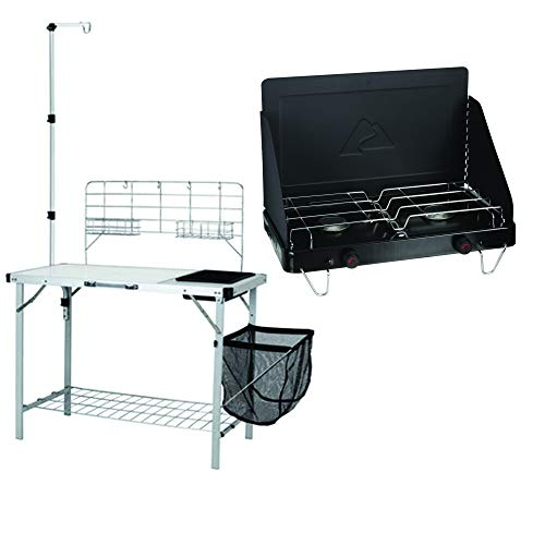 Acme Communications Ozark Trail Portable Camp Kitchen and Sink Table with Lantern Pole Bundle with Ozark Trail Propane Fold-Up 2-Burner Camp Stove