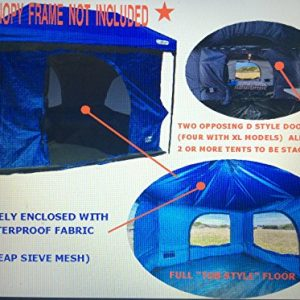 The Original-Authentic Standing Room Family Cabin Tent 8.5 FEET OF HEAD ROOM 2 or 4(XL models)Big Screen Doors Fast Easy SetUp,Fits Most 10x10 STRAIGHT Leg Canopy,FULL FLOOR, CANOPY FRAME NOT INCLUDED
