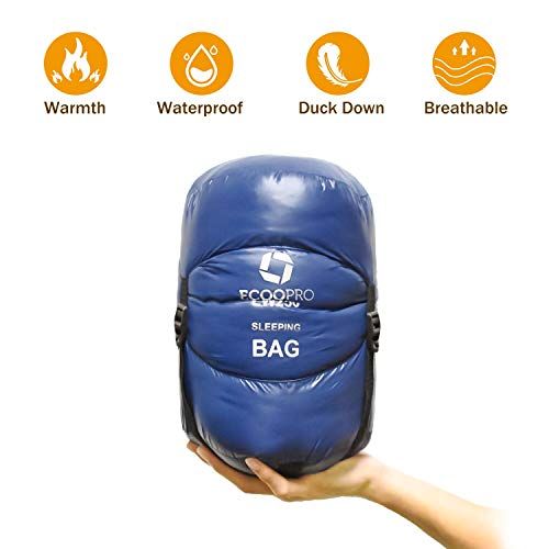 ECOOPRO Down Sleeping Bag, 32 Degree F 600 Fill Power Cold Weather Sleeping Bag - Ultralight Compact Portable Waterproof Envelope Camping Sleeping Bag with Compression Sack for Adults, Teen, Kids