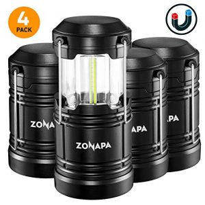 ZONAPA Outdoor LED Lantern w/Magnetic Base (4-Pack) Battery Powered, Portable Camping Light | Ultra-Bright Camp or Emergency Lighting | Indoor, Outdoor Hanging Hook