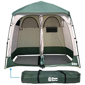 EasyGo Product EGP-TENT-016 Shower Shelter - Giant Portable Outdoor Pop UP Camping Shower Tent Enclosure - Changing Room - 2 Rooms - Instant Tent - 7.5' Tall x 4' Deep x 7.5' Wide, Green