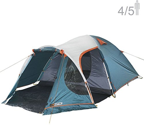 NTK INDY GT 4 to 5 Person 12.2 by 8 Foot Outdoor Dome Family Camping Tent 100% Waterproof 2500mm, European Design,Easy Assembly, Durable Fabric Full Coverage Rainfly - Micro Mosquito Mesh.