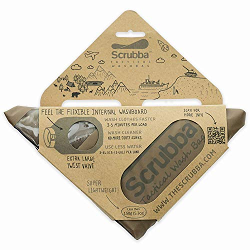 Scrubba Tactical wash Bag - 2018/19 Model - Portable Washing Machine with Flexible Inner Washboard and XL Valve, Coyote Brown