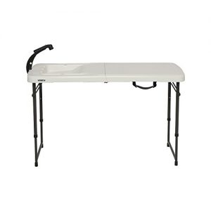LIFETIME 4 Foot Folding Fish Fillet Cleaning Table with Sink for Camping, Picnic, Garden, Outdoors