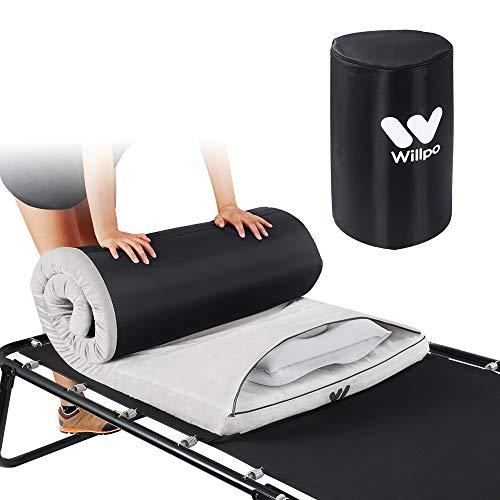 Willpo Camping Foam Pad Small Single Size [75''x24''x2] Roll-up Adjustable Lightweight Mattress
