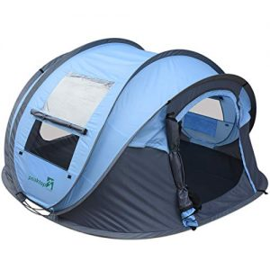 2020 New 3-4 Person Automatic Pop up Camping Tent Blue Waterproof Lightweight Dome Tent Mesh Doors and Windows for Camping Hiking Backpack Beach