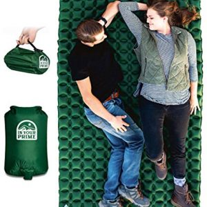 In Your Prime Double Sleeping Pad for Camping + Multi use Pump Sack & Carabiner! Compact & Waterproof for Tent, Hiking, Backpacking, Truck or Beach- Fast Inflatable Sleeping mat