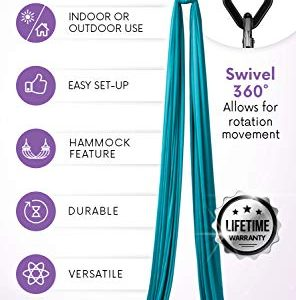 Professional 11 Yards Aerial Silks Equipment for All Levels - Medium Stretch Aerial Yoga Swing & Hammock Kit - Perfect for Indoor Outdoor Aerial Dance, Circus Arts - ALL Hardware Included