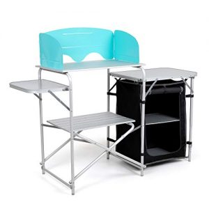 Camp Kitchen Table with Windscreen and Carrying Bag - Aluminum Camping Equipment, Portable, and Lightweight - Folding Cook Station for BBQ, Picnics, and Tailgating