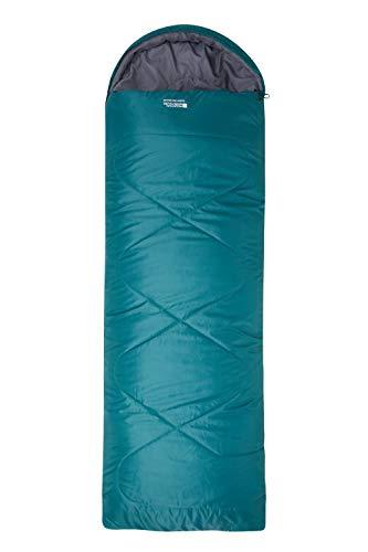 Mountain Warehouse Summit 250 Square Sleeping Bag - Camping Bag Petrol Blue Right Handed Zip - Regular Length (200cm)